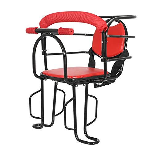 Asiento De Bebé Ajustable para Bicicleta, Asiento De Bicicleta Portátil para Niños Montado En La Parte Delantera Sillín Acolchado con Apoyabrazos Y Pedales Antideslizantes