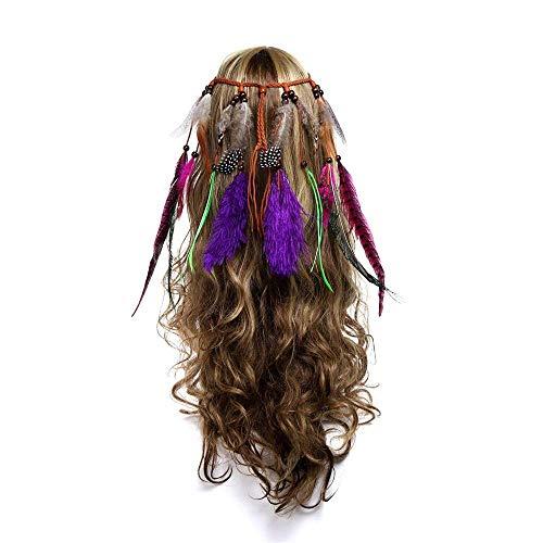 NMBD Accesorios de la Mujer del Hippie tocados de Pelo for la Mascarada Ajustable Hecha a Mano de la Borla del Tocado de Boho Venda de la Pluma for Día de la Mujer