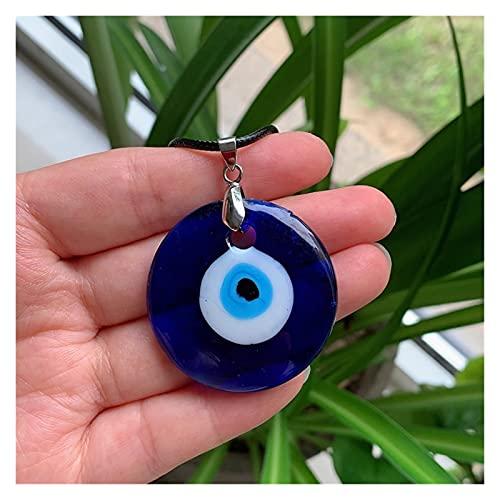 olgante de Cristal de Cuarzo 30-5 0mm Collar for Mujeres Hombres Mar Azul Vidrio Lucky Péndulo Turquía Turquía Colgante Collar Choker Joyería (Metal Color : 40MM)