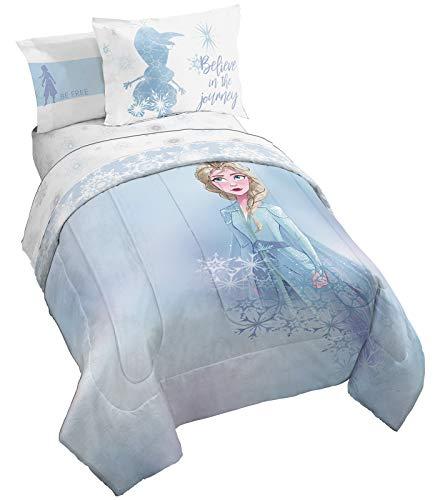 Jay Franco Disney Frozen 2 Elsa Color Block 7 Piece Queen Bed Set - Includes Reversible Comforter & Sheet Set Bedding - Super Soft Fade Resistant Microfiber (Official Disney Product)