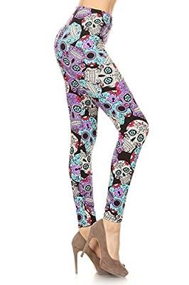 R864-3X5X Purple Sugar Print Leggings