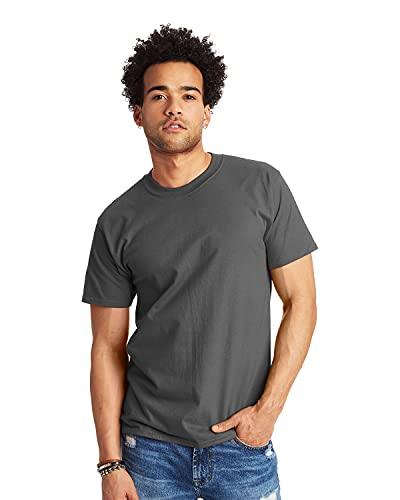 Hanes Men's Short Sleeve Beefy-T, Smoke Gray, Medium