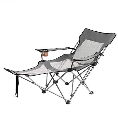 L@LILI Chaise de Camping avec Repose-Pieds, Portable Compact Chaise inclinable réglable en Plein air Chaise de pêche légère pour Les Personnes Lourdes,B