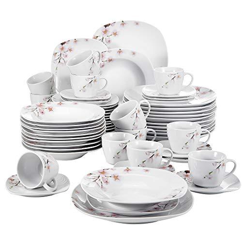 VEWEET Tafelservice 'Annie' aus Porzellan 60 teilig | Kombiservice beinhatlet Kaffeetassen 175 ml, Untertasse, Dessertteller, Speiseteller und Suppenteller| Komplettservice für 12 Personen