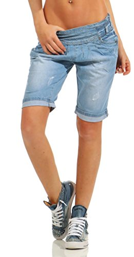 Fashion4Young 10899 Damen Jeans Bermuda Denim Shorts Kurze Hose Stretch Destroyed Baggy Bundfalten (blau, XL-42)