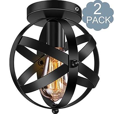 Industrial Ceiling Light E26 E27 Vintage Globe Caged Semi-Flush Mount Ceiling Fixture for Hallway Porch Bedroom 2 Pack,Black