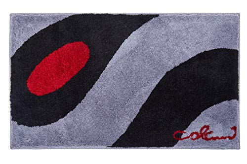 Grund COLANI Exklusiver Designer Badteppich 100% Polyacryl, ultra soft, rutschfest, ÖKO-TEX-zertifiziert, 5 Jahre Garantie, Colani 35, Badematte 60x100 cm, hellgrau-schwarz