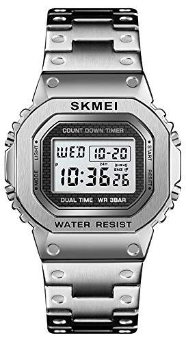Chronograph Countdown Digital Watch for Men Stainless Steel Outdoor Sport Wristwatch Men's Watch Alarm Clock 50M Waterproof (Silver)