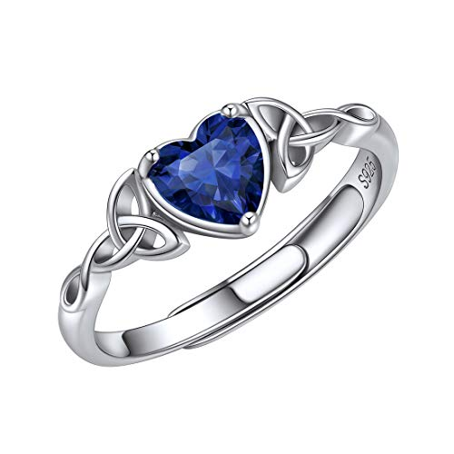 ChicSilver 925 Sterling Silver Rings for Women Dark Blue Gem Stone Sapphire Heart Celtic Knot September Birthstone Jewelry for Her