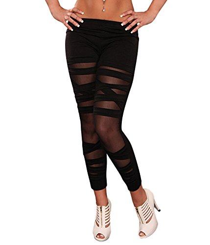 Berry Belle Glamour Stretch Leggins Risse unterlegt mit Spitze, Netz oder Leo Muster auch im Leder Look Größe (34-40) (Black/Bandage)