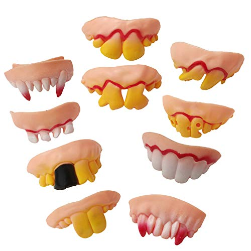 BESUFY Halloween Cosplay Makeup,Realistic Scary Halloween Decorations 10Pcs Funny Vampire Zombie Denture Teeth Halloween Cosplay Costume Trick Toys – Pink