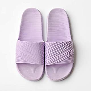 Khouses Couples, slippers, indoor home, thick bottom, non-slip bathroom slippers, men and women, one-slip slippers (Color : Purple, Size : 36-37)