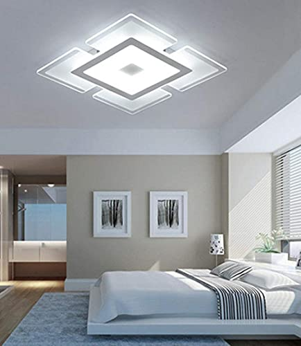 Lámpara de araña decorativa, lámpara de techo, ultrafina, de acrílico, para salón, dormitorio, salón, luz blanca, 42 x 42 cm, atenuación continua, 52 x 52 cm