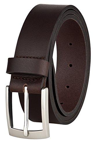 MACOSTA Ledergürtel für Männer, Freizeit und Business Gürtel aus echtem Leder (95 cm, Braun)