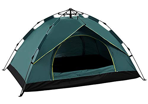 Instant Pop Up Camping Tents for 2-4 Person Family, Dome Waterproof Sun Shelters, Quick Set Up, for Camping Hiking Outdoor Activities (Dark green/1,200 * 200cm)
