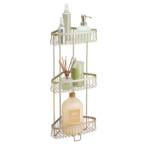 iDesign York Metal Wire Corner Standing Shower Caddy 3-Tier Bath Shelf Baskets for Towels, Soap, Shampoo, Lotion, Accessories, Satin