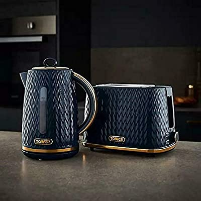 Stylish Kitchen Retro Midnight Blue Empire Tower 1.7 Litre Jug 3kW Kettle, 2 Slice Toaster,