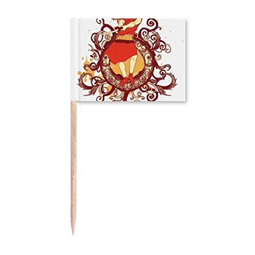 Japanische rote Samurai-Schwert Illustration Zahnstocher Flaggen Marker Topper Party Dekoration