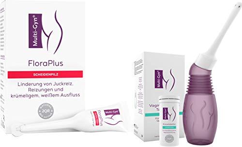 Multi-Gyn FloraPlus | Behandlung und Vorbeugung von vaginalen Infektionen & Vaginaldusche für eine optimale Vaginalhygiene 1 Applikator & 1 Röhrchen mit 10 Brausetabletten zur Spüllösungen
