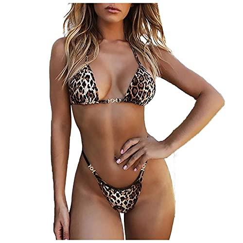 VODMXYGG Las Mujeres de Leopardo Conjunto de Bikini de natación de Dos Piezas Trajes de baño Traje de Playa Bañador Vacaciones 0916549