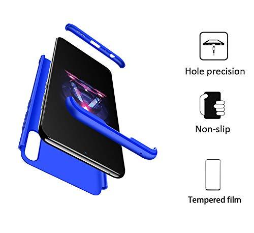 GoodcAcy Hülle Kompatibel mit Asus Zenfone Max Pro M2 ZB631KL with Panzerglas Schutzfolie,360 Grad R&umschutz 3 in 1 PC Superleichte Handyhülle Schutzhülle Hüllen Tasche Bumper Cover Blau