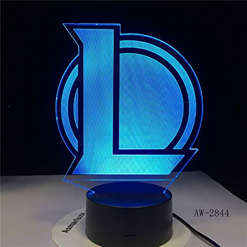 BFMBCHDJ L Team 3D Lampe Nachtlicht Baby 7 Farbwechsel Acryl Fernbedienung Touch Schalter Toilettenlampe USB Energiesparende Schreibtischlampe