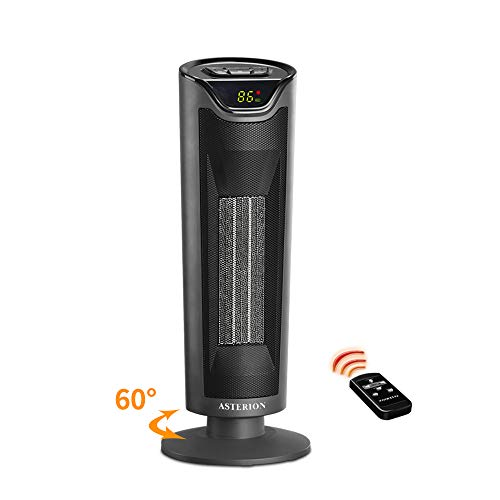 Electric Space Heater, ASTERION Portable Ceramic Office Heater with Adjustable Thermostat, Oscillating Indoor Heater with 24H Timer Remote Efficient for Home, bedroom, Tip-Over Overheat Protection,ETL Ceramic Heater Space
