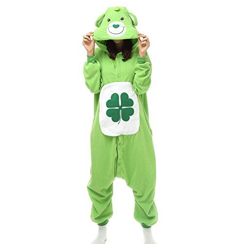 Erwachsene Kleeblatt Viel Glück Care Bear Einteiler Polar Fleece Schlafanzüge Cartoon Tier Nachtwäsche Halloween Cosplay Kostüm Unisex, Grün - Grün, L (Höhe 5'6-5'10)