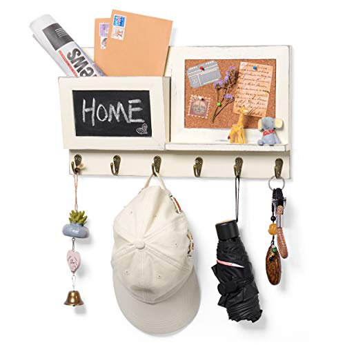 Wall Mount Entryway Mail Envelope Organizer, Key Holder Coat Rack with Chalkboard and 6 Hooks for Wall Decorative Rustic Wood Whit