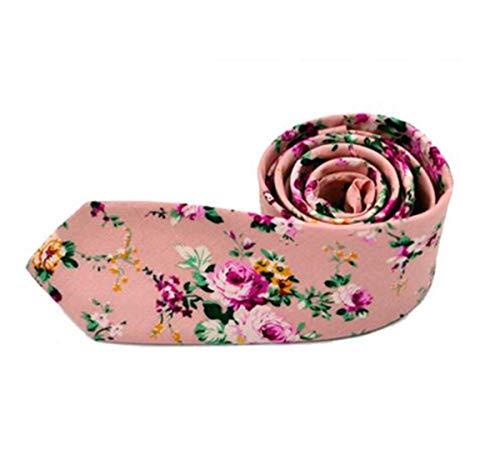 Xmiral Krawatte Herren Mode Blumen Drucken Baumwollmischung Schmale Business Casual Krawatte(Rosa)