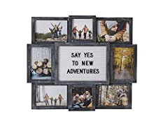 This beautiful letter board collage will display your favorite saying which showing off your favorite photos The individual frames hold four 4x6-inch photos, two 6x4-inch photos and two 4x4-inch photos Our changeable letter board comes with 144 black...