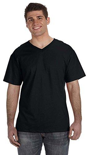 Fruit of the Loom Herren T-Shirt mit V-Ausschnitt, 100 {d31c3ec59610e1a47e1a8b687ca0aa31f821204c6ebb10af53719dc761520053} Baumwolle, 142 g Gr. XL, Schwarz