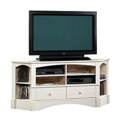 "Sauder Harbor View Corner Entertainment Unit, For TVs up to 60"",Finished in Antiqued White"