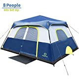 OT QOMOTOP Tents, 8 Person 60 Seconds Set Up Camping Tent, Waterproof Pop Up Tent with Top Rainfly, Instant Cabin Tent, Advanced Venting Design, Provide Gate Mat