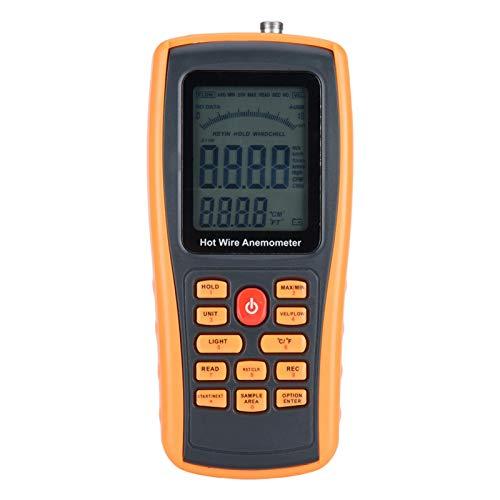 Anemómetro digital, anemómetro de mano Medidor de temperatura del medidor de velocidad del viento de alambre caliente digital para navegar, surfear