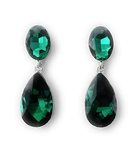 Pendientes Largos Mujer Bisutería Cristales de Colores Fiesta Boda Forma Lágrima Chapado Plata, Verde Esmeralda