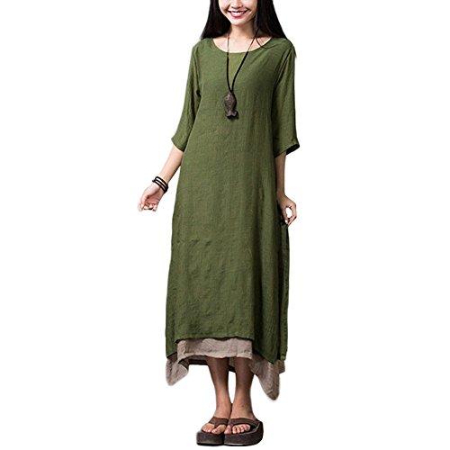 Romacci Damen Kleid Unregelmäßiger Rand Beiläufige Boho Lang Maxikleider, S, Armee-grün