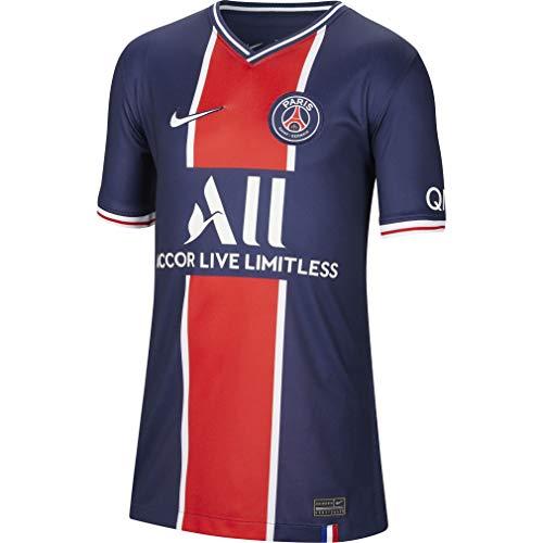 NIKE Paris Saint-Germain Temporada 2020/21-PSG Y NK BRT STAD JSY SS HMCD4508-411 Camiseta Primera Equipación, Niño, Midnight Navy/White Full Sponsor, S