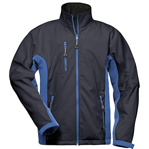 Craftland Kronos Softshell Jacke Schwarz   Weiß   Blau   Herren   Atmungsaktiv   Wind- u. Wasserdicht   Elastisch Abriebfest Fleece-Innenseite Weitenverstellbare Ärmel (M, Marine/Royal)