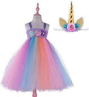 466b1a43fe6bc Candy Rainbow Princess Girls Unicorn Tutu Dress with Headband Baby Dress Up  Costume for Birthday Dance