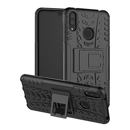 betterfon | Huawei Y7 2019 Outdoor Handy Tasche Hybrid Hülle Schutz Hülle Panzer TPU Silikon Hard Cover Bumper für Huawei Y7 2019 Schwarz