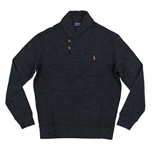 Polo Ralph Lauren Men's French Rib Shawl Sweater, Black Heather, Small