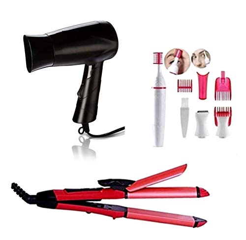 DEBIRE 2 IN 1 Hair Straightener and Curl, Hair Dryer Hot and Hair Trimmer for Women Multicolore