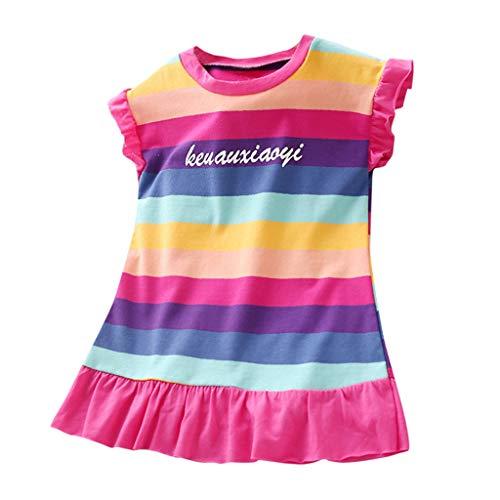 Julhold Kleinkind Baby Kinder Mädchen Lässig Geraffte Regenbogen Gestreifte Brief Prinzessin Lose Kleider Kleidung 1-5 Jahre