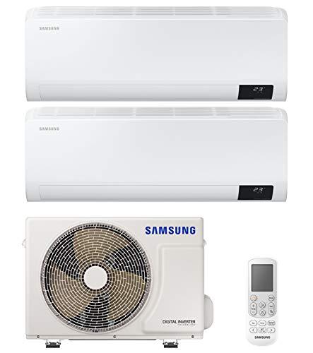 Samsung Clima Luzon Climatizzatore Dual Split, 9000+12000 BTU, AR09TXHZAWKNEU+AR12TXHZAWKNEU+AJ040NCJ2EG/EU, [Classe di efficienza energetica A+++/A++]