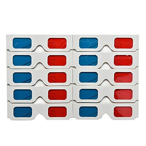 F-blue 10pcs / Set Vidrios Rojo Azul Universal de Papel 3D anaglifo 3D Rojo Azul Cartón Juego de la película de DVD Vídeo TV Gafas 3D