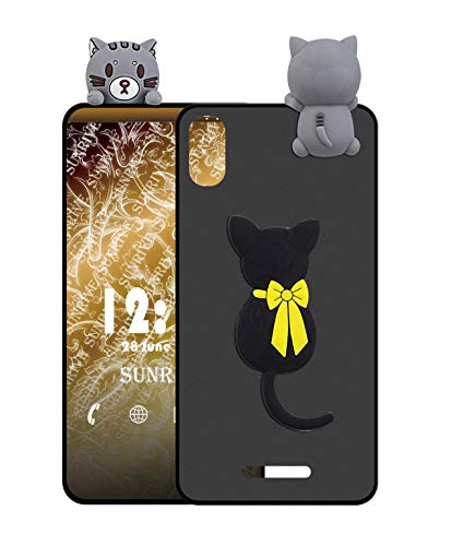 Sunrive Für ZTE Blade A452 Hülle Silikon, Handyhülle matt Schutzhülle Etui 3D Case Backcover für ZTE Blade A452 (W1 Katze) MEHRWEG+Gratis Universal Eingabestift
