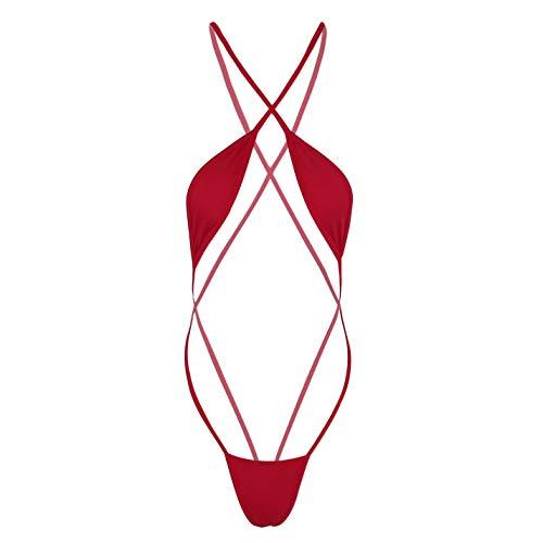 inlzdz Damen Mini-Bikini Monokini Badeanzug Bodysuit Teddy Dessous Gr. onesize, rot