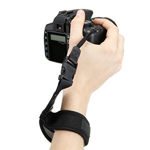 USA Gear Correa para La Muñeca con Diseño De Neopreno Acolchado Negro, Soporte Cómodo Y Hebillas De Liberación Rápida - Compatible con Cámaras DSLR Canon, Nikon, Sony Y Más