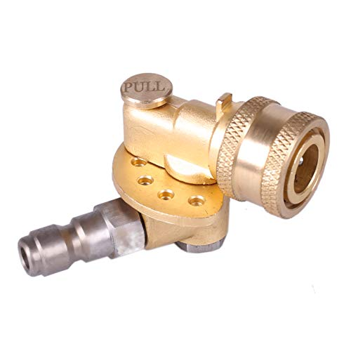 Honor & Joy Pivoting Coupler with 120 Degree and 5 Angle, for Pressure Washer Spray Nozzle . Safety Gear for extremely high reliability , Clean Hard to Reach Area Max 5000 PSI 1/4 Inch Quick Connect